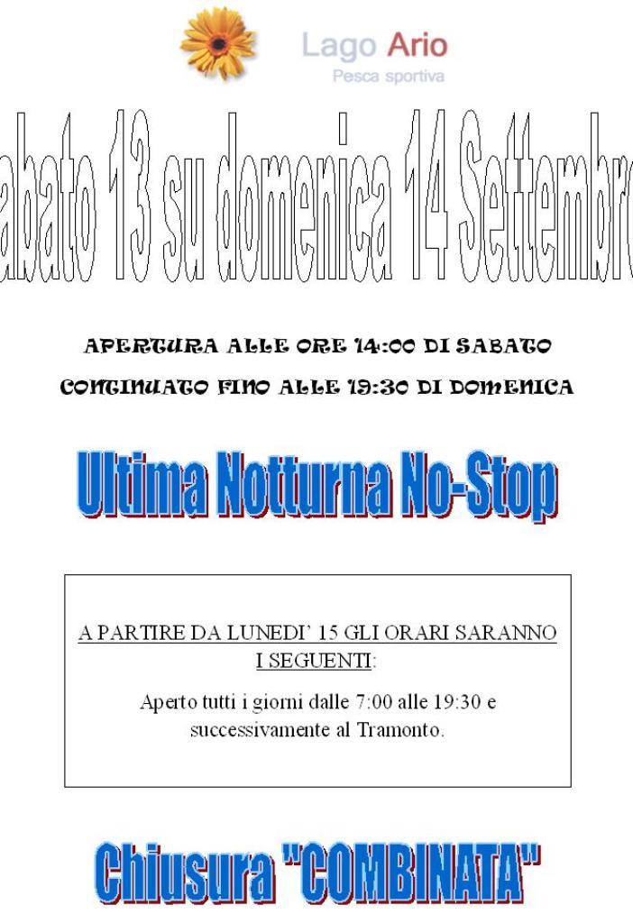 III ED ULTIMA NOTTURNA NO-STOP DELLA STAGIONE